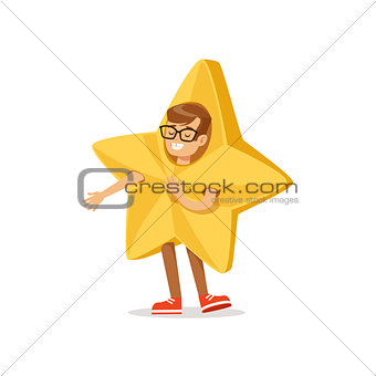 Boy In Golden Star Outfit Dressed As Winter Holidays Symbol For The Costume Christmas Carnival Party