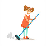 Grl Cleanning Floor Off Dust Smiling Cartoon Kid Character Helping With Housekeeping And Doing House Cleanup