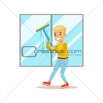 Boy Washing Windows With Squeegee Smiling Cartoon Kid Character Helping With Housekeeping And Doing House Cleanup