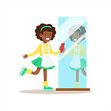 Girl Polishing The Mirror Smiling Cartoon Kid Character Helping With Housekeeping And Doing House Cleanup