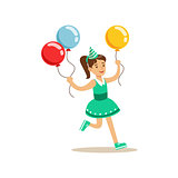 Girl Running With Three Multicolor Party Balloons, Kids Birthday Party Scene With Cartoon Smiling Character