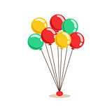 Bunch Of Flying Helium Multicolor Party Balloons, Kids Birthday Party Scene With Cartoon Smiling Character