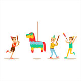 Kids Playing With Horse Shaped Pinata, Kids Birthday Party Scene With Cartoon Smiling Character