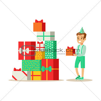Boy Next To Giant Pile Of Presents , Kids Birthday Party Scene With Cartoon Smiling Character