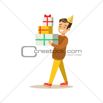 Boy Carrying Piled Presents , Kids Birthday Party Scene With Cartoon Smiling Character