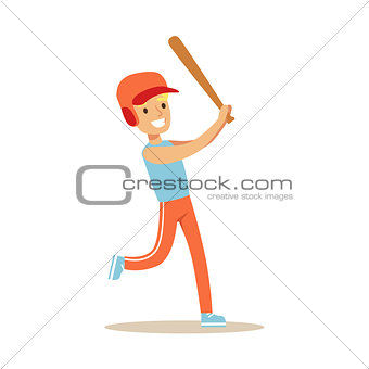 Boy Playing Baseball, Kid Practicing Different Sports And Physical Activities In Physical Education Class