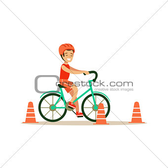 Boy Riding Bicycle, Kid Practicing Different Sports And Physical Activities In Physical Education Class