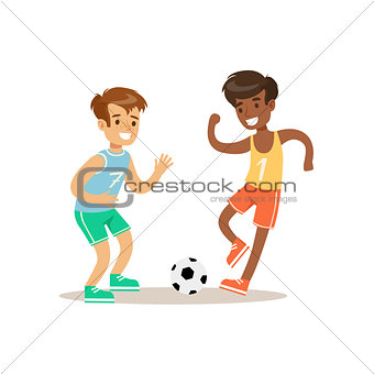 Boys Playing Football Kid Practicing Different Sports And Physical Activities In Physical Education Class