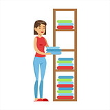 Woman Housewife Ranging Clean Clothes On Shelves, Classic Household Duty Of Staying-at-home Wife Illustration
