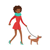 Woman Housewife Walking A Dog On a Leash, Classic Household Duty Of Staying-at-home Wife Illustration