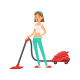 Woman Housewife Vacuum Cleaning The Floor , Classic Household Duty Of Staying-at-home Wife Illustration