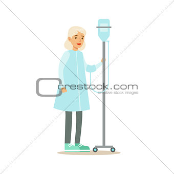 Old Lady Walking In Corridor With Dropper, Hospital And Healthcare Illustration