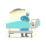 Surgeon Operating On Unconcious Patient In Surgery Room, Hospital And Healthcare Illustration