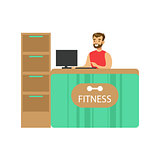 Fitness Club Reception Counter With Male Receptionist And Computer