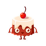 Chocolate Cake With Cherry On Top, Sweet Dessert Pastry Childish Cartoon Character