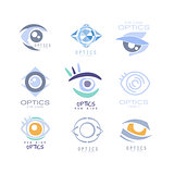 Kids Optics Clinic And Ophthalmology Cabinet Set Of Label Templates In Different Creative Styles And Light Blue Shades