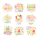 Candy Shop Promo Signs Set Of Colorful Vector Design Templates With Sweets And Pastry Silhouettes