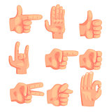 Conceptual Popular Hand Gestures Set Of Realistic Isolated Icons With Human Palm Signaling
