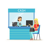 Woman Withdrawing Cash At Bank Cashier. Bank Service, Account Management And Financial Affairs Themed Vector Illustration