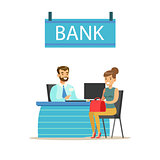 Bank Manager At His Desk And The Client. Bank Service, Account Management And Financial Affairs Themed Vector Illustration