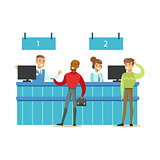 Client Service Counter With Bank Visitors And Workers. Bank Service, Account Management And Financial Affairs Themed Vector Illustration