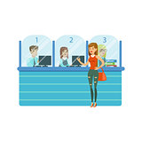 Three Bank Operators In Glass Cubicles And Woman Client. Bank Service, Account Management And Financial Affairs Themed Vector Illustration