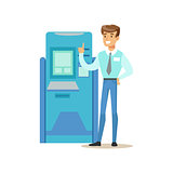 Bank Consultant Standing Next To ATM Cash Machine. Bank Service, Account Management And Financial Affairs Themed Vector Illustration