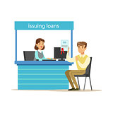 Bank Client Getting A Loan. Bank Service, Account Management And Financial Affairs Themed Vector Illustration