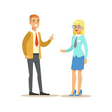 Bank Employee Consulting The Client. Bank Service, Account Management And Financial Affairs Themed Vector Illustration