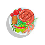 Rolled Sausage, Beef Steak And Shrimps, Oktoberfest Grill Food Plate Illustration
