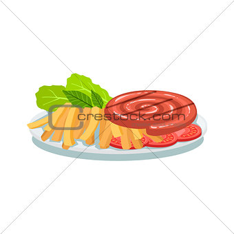 Sausage Roll, Fries And Tomato, Oktoberfest Grill Food Plate Illustration