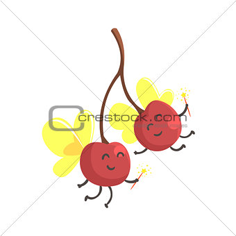 Pair Of Cherries With Wings In Fairy Costumes, Part Of Vegetables In Fantasy Disguises Series Of Cartoon Silly Characters