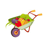 Fresh Vegetables Harvest In Wheel Barrel, Farm And Farming Related Illustration In Bright Cartoon Style