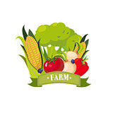 Set Of Fresh Vegetables With Banner Saying Farm, Farm And Farming Related Illustration In Bright Cartoon Style