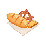 Freshly Baked Bread, Pretzel And Toast, Farm And Farming Related Illustration In Bright Cartoon Style