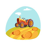 Tractor Standing On The Field With Hay Stacks, Farm And Farming Related Illustration In Bright Cartoon Style