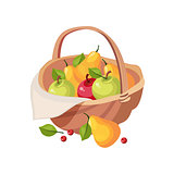 Fresh Garden Fruit Harvest In Wicker Picnic Basket, Farm And Farming Related Illustration In Bright Cartoon Style
