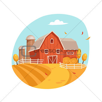Autumn Scenery With House And Barn On The Field, Farm And Farming Related Illustration In Bright Cartoon Style