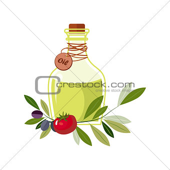 Olive Oil In Glass Bottle With Olives And Tomato Laying Around, Farm And Farming Related Illustration In Bright Cartoon Style