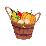 Fresh Vegetables Harvest Set In Wooden Bucket, Farm And Farming Related Illustration In Bright Cartoon Style