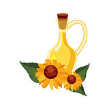 Sunflower Seeds Oil Glass Bottle and Sunflowers, Farm And Farming Related Illustration In Bright Cartoon Style