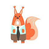 Squirrel In Office Clothes With Tie, Forest Animal Dressed In Human Clothes Smiling Cartoon Character