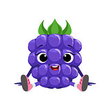 Big Eyed Cute Girly Blackberry Character Sitting, Emoji Sticker With Baby Berry