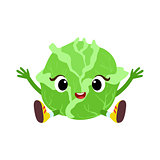 Big Eyed Cute Girly Cabbage Character Sitting, Emoji Sticker With Baby Vegetable