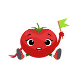 Big Eyed Cute Girly Tomato Character Sitting, Emoji Sticker With Baby Vegetable