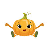 Big Eyed Cute Girly Pumpkin Character Sitting, Emoji Sticker With Baby Vegetable