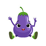 Big Eyed Cute Girly Eggplant Character Sitting, Emoji Sticker With Baby Vegetable