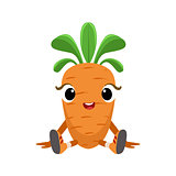 Big Eyed Cute Girly Carrot Character Sitting, Emoji Sticker With Baby Vegetable