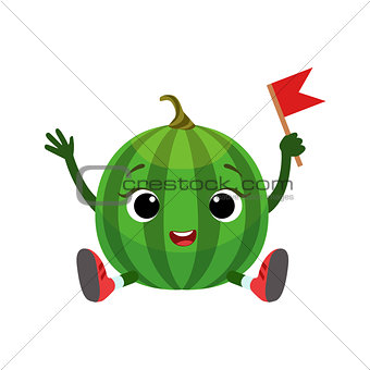 Watermelon Character Sitting, Emoji Sticker With Baby Fruit