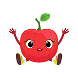 Big Eyed Cute Girly Apple Character Sitting, Emoji Sticker With Baby Fruit